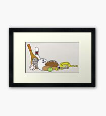 SPORTS EQUIPMENT ON WHITE Framed Print