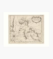 Vintage Map of The Bahamas (1764) Art Print