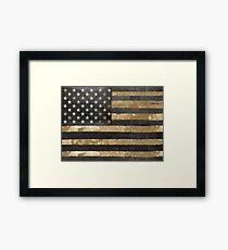 American Flag Gold and Black  Framed Print