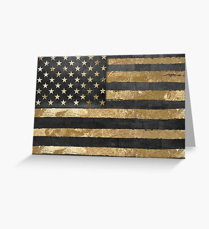 American Flag Gold and Black  Greeting Card