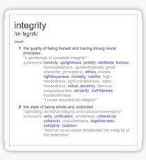 What is integrity ? Sticker