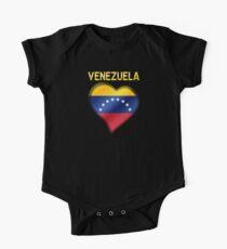 Venezuela - Venezuelan Flag Heart & Text - Metallic One Piece - Short Sleeve