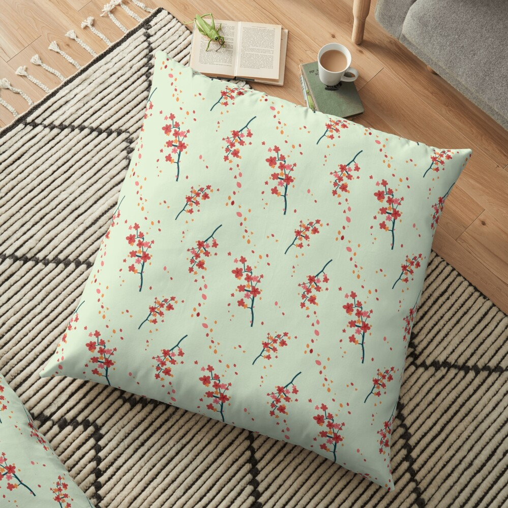 Branches with flowers Floor Pillow