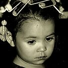 Tired Young Girl with Curlers in Hair by PhotosByTrish