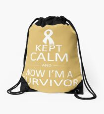 Now I'm a Childhood Cancer Survivor Drawstring Bag