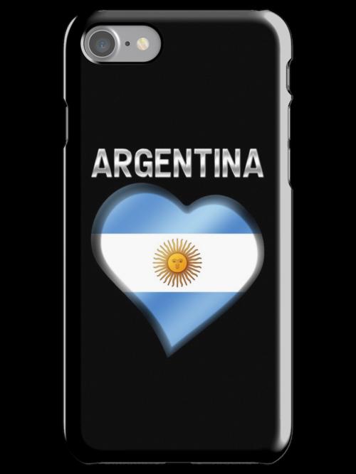 Argentina - Argentine Flag Heart & Text - Metallic by graphix