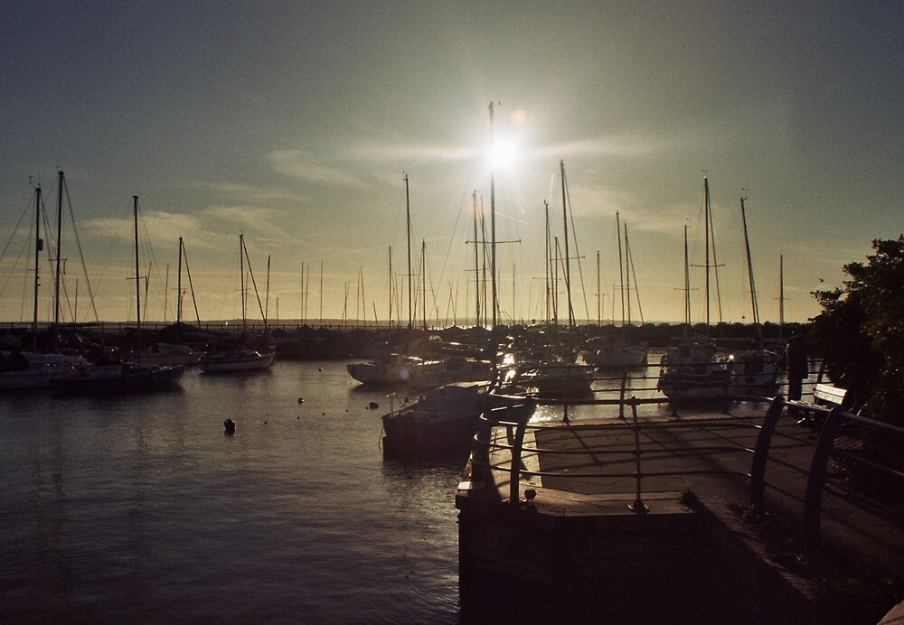 Sun flare Though Masts by Thomas Martin