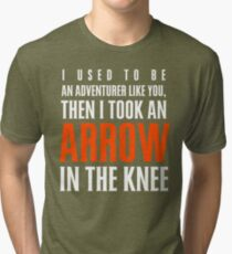 Arrow in the Knee - Text Only Tri-blend T-Shirt