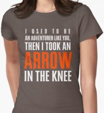 Arrow in the Knee - Text Only Womens Fitted T-Shirt