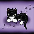 Katze schwarz weiß von Pezi-Creation