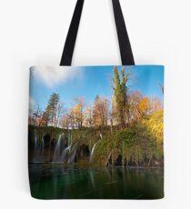 The lake and the waterfalls Tote Bag