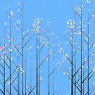 Cherry Blossom - blue background by Jarede Schmetterer