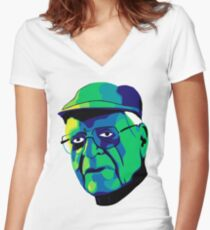 Grandfather Face Women's Fitted V-Neck T-Shirt