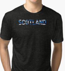 Scotland - Scottish Flag - Metallic Text Tri-blend T-Shirt