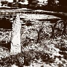 Rustic Wheels with Spokes Fence, Sepia, Vintage, Antique Effect by PhotosByTrish