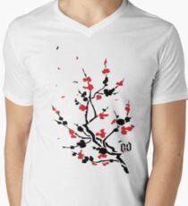 CHERRY BLOSSOMS RED Men's V-Neck T-Shirt