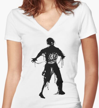 Decaying Zombie Women's Fitted V-Neck T-Shirt