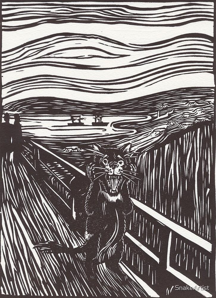 Devil Scream- LinoCut by SnakeArtist