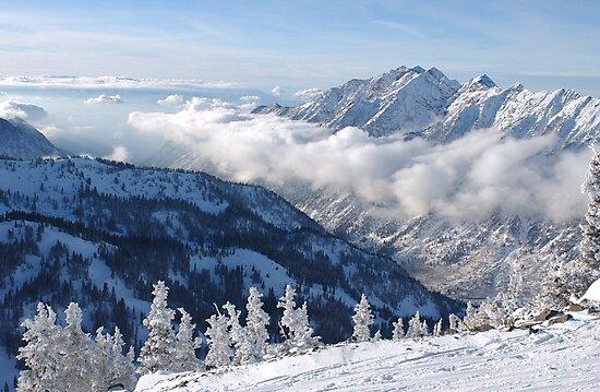 Winter mountains view from summit of Snowbird, Utah by Anton Oparin