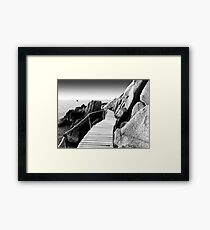 Staggering Wooden Path in Black and White Framed Print