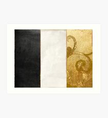 Fashion Gold and Black Flag France Art Print