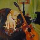 Puppy and Guitar by Boris J