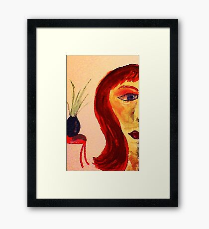 Half face, watercolor Framed Print