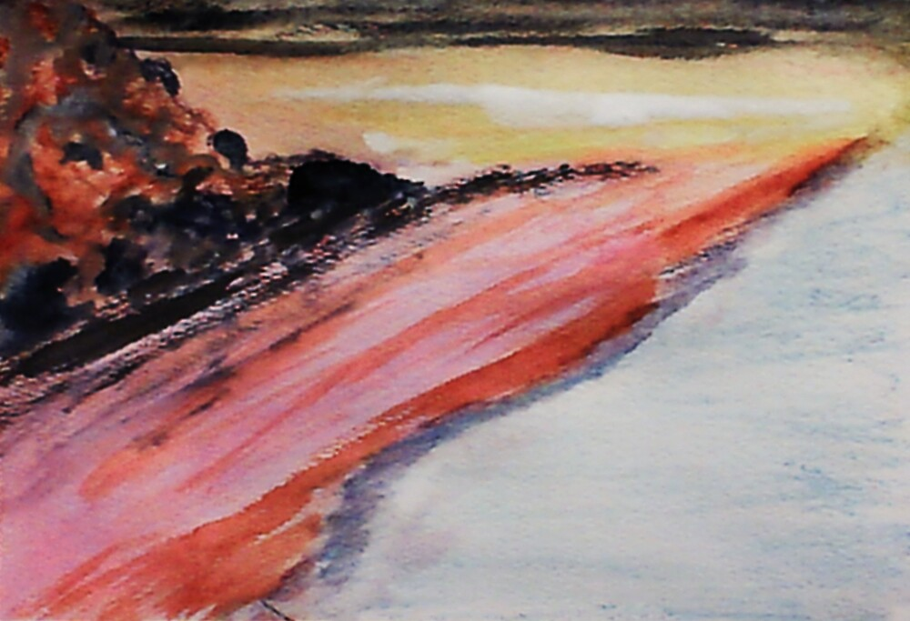 Beach to eternity, abstract, watercolor by Anna  Lewis, blind artist