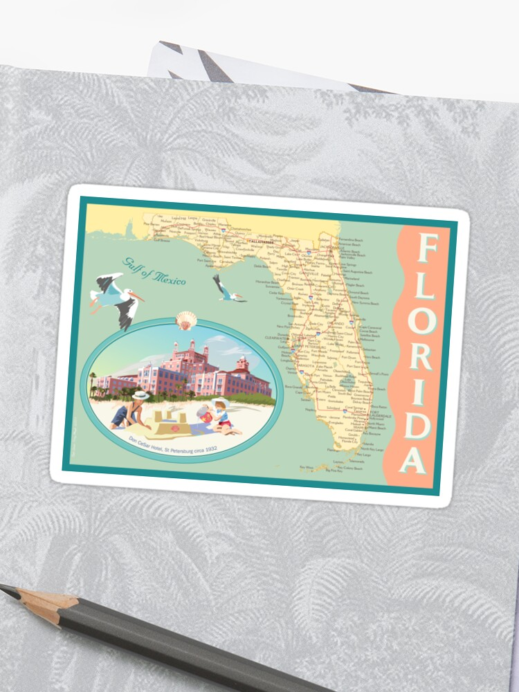 Florida Hotel Map.Florida Map With Don Cesar Hotel Sticker