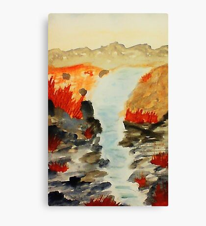 After the flash flood the desert  thrives, watercolor Canvas Print