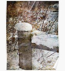 Snowy Fencepost Poster