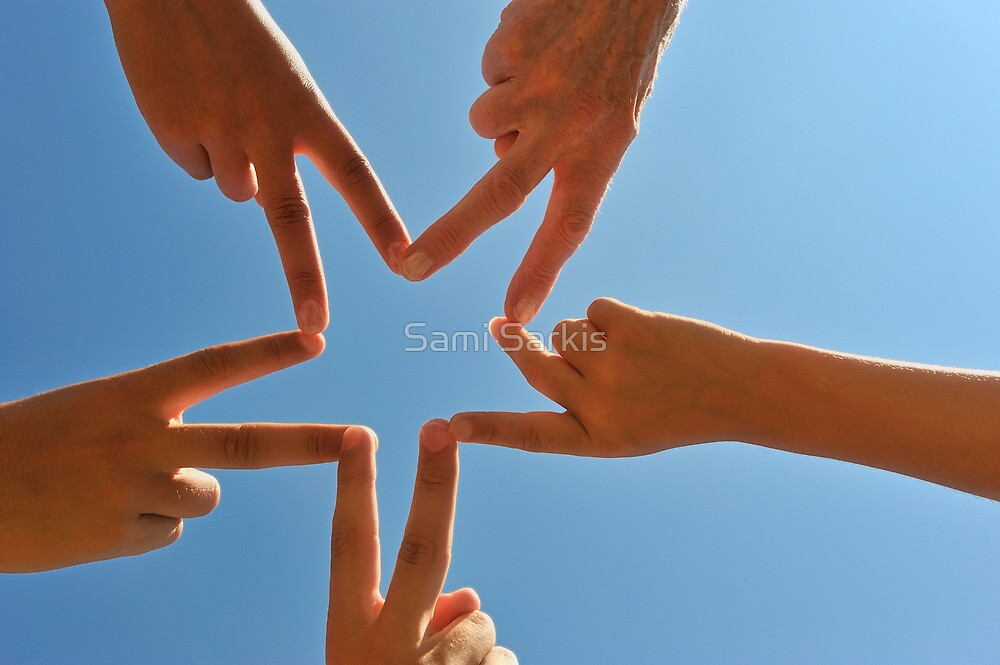 Five hands drawing a star shape by Sami Sarkis