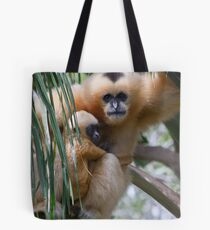White Cheeked Gibbon and Infant Tote Bag