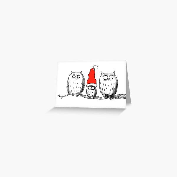Small Christmas owl group Greeting Card