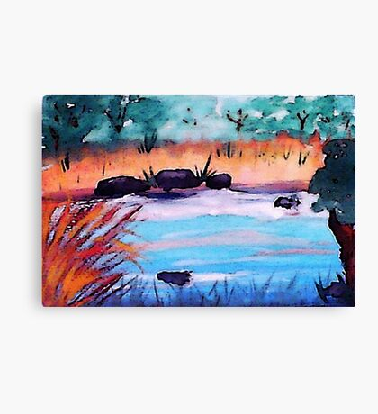 Catfihing pond, watercolor Canvas Print