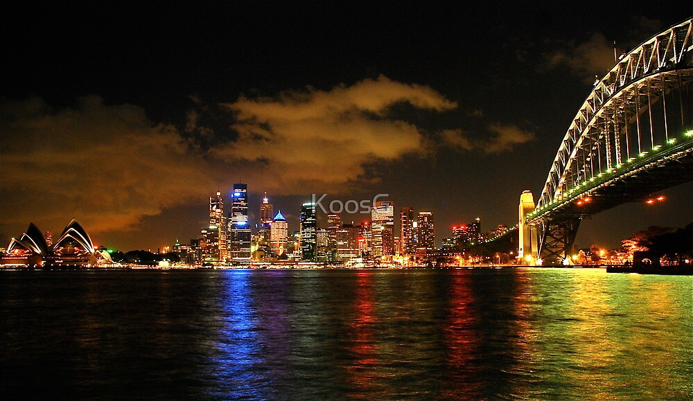 Panorama Sydney Harbour by night by KoosG