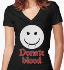 Donate Blood - Vampire Smiley Women's Fitted V-Neck T-Shirt