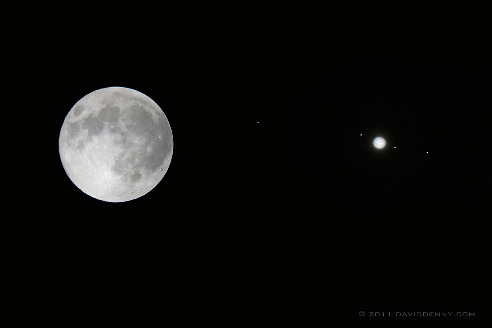 Full Moon, Jupiter and it's Moons by David Denny
