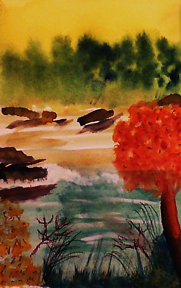 Catfishing pond #2, watercolor by Anna  Lewis, blind artist