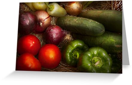 Food - Vegetables - Onions, Tomatoes, Peppers, and Cucumbers  by Michael Savad