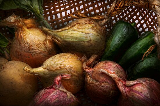 Food - Vegetables - Onions and Peppers by Michael Savad