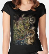 Japanese dragon and koi fish  Women's Fitted Scoop T-Shirt