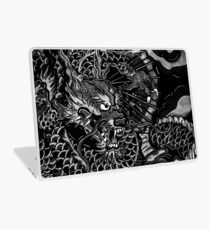 Japanese dragon with koi b&w hd Laptop Skin