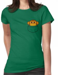 Pocket monkey is highly suspicious Womens Fitted T-Shirt