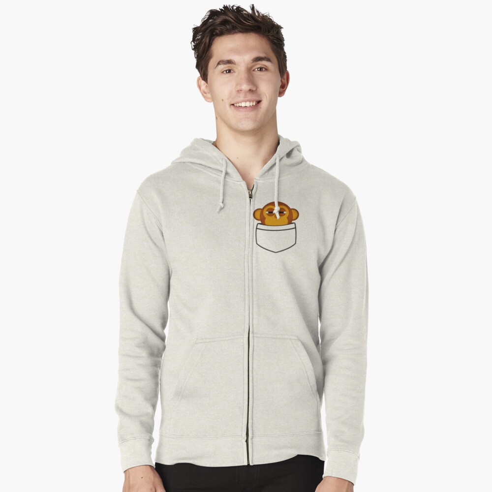 Pocket monkey is highly suspicious Zipped Hoodie