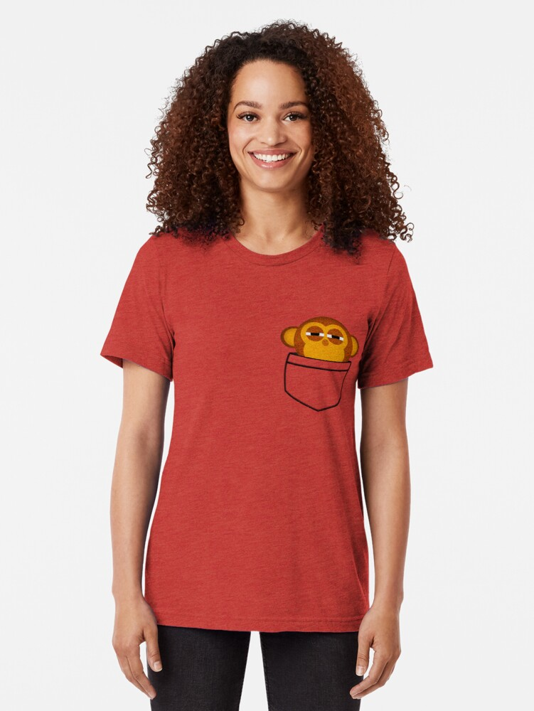Alternate view of Pocket monkey is highly suspicious Tri-blend T-Shirt
