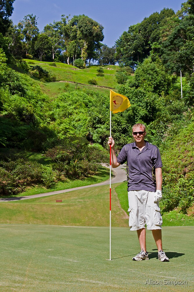 Zane at the 17th hole of the Red Mountain Golf Club, Phuket, Thailand by Alison Simpson