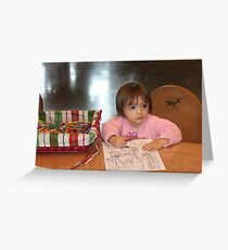 Coloring a picture for Santa..... Greeting Card