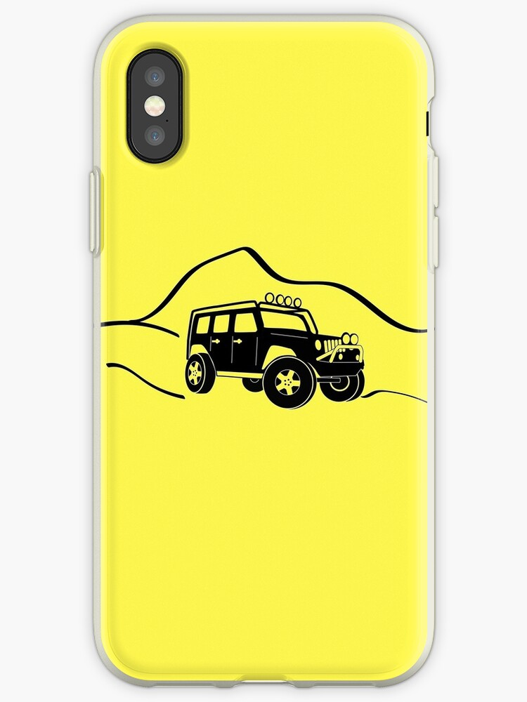 sale retailer d875c f4642 'Jeep Wrangler JK With Mountain Background Tee / Sticker - Black' iPhone  Case by TheStickerLab