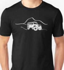 Jeep Wrangler JK With Mountain Background Tee / Sticker - White T-Shirt